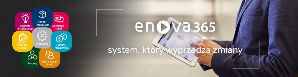 enova365 baner system który wyprzedza zmiany mężczyzna pracuje na tablecie
