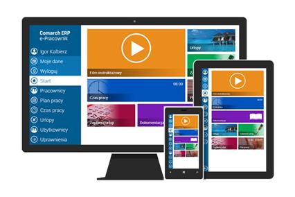 Mockup Comarch ERP e-Pracownik na monitorze komputera, tablecie, Smartphonie