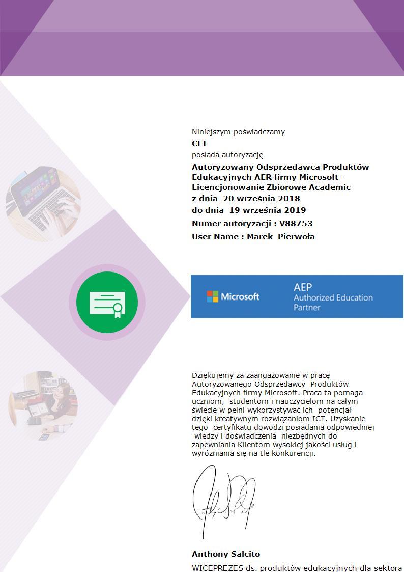 Skan Certyfikatu Autoryzowany Odsprzedawca Produktów Edukacyjnych AER firmy Microsoft dla CLI